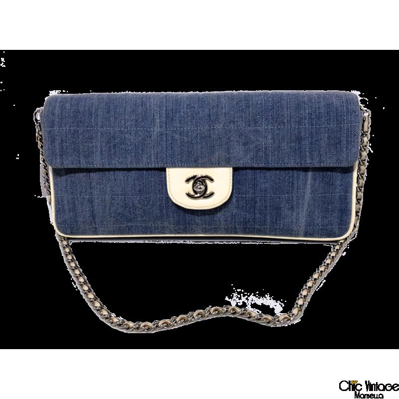 83dcf3289 Bolso CHANEL Tela Jeans azul