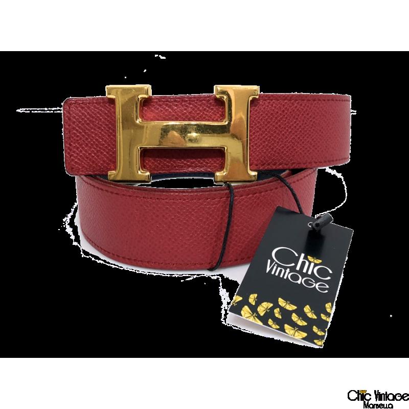 Cinturón HERMES Hebilla Chapado Oro (articulo pre.amado)