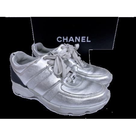 Zapatillas CHANEL Cuero Plateado